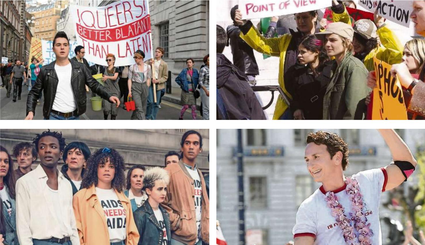 """Heraus! """"Pride"""" (li. o.) beginnt auf dem London Pride 1984, in """"Itty Bitty Titty Committee"""" (re. o.) wird gegen die Ehe demonstriert, in """"It's a Sin"""" (li. u.) für Aids-Medikamente und in """"Milk"""" für queere Rechte."""