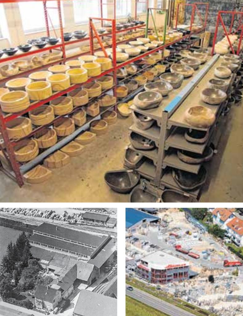 Ganz oben: die riesige Naturstein Waschbecken-Auswahl. Darunter: das Werksgelände von Bäumler 1934 und heute. Fotos: Bäumler