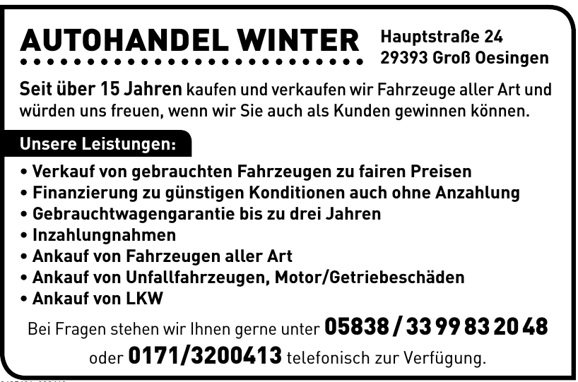 Autohandel Winter
