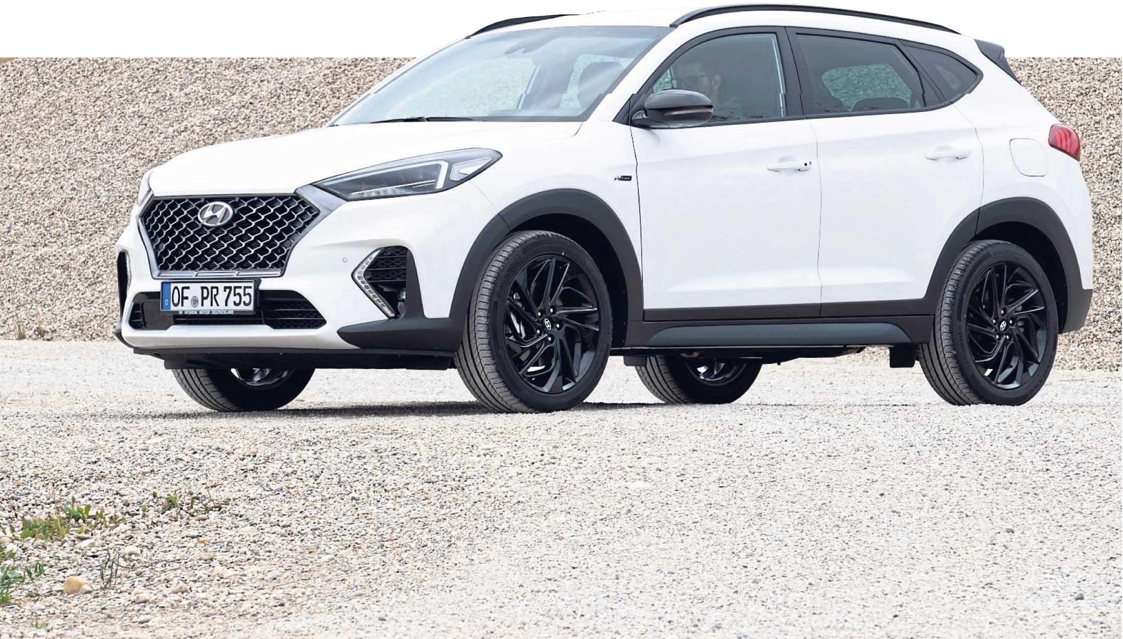Der Hyundai Tucson, hier in der knackigen Version N-Line. Verbrauch (l/100 km) kombiniert: 6,9-7,8, CO2-Emissionen (g/km): 158-179, Preis: ab 22.970 Euro, lt. Angaben des Herstellers