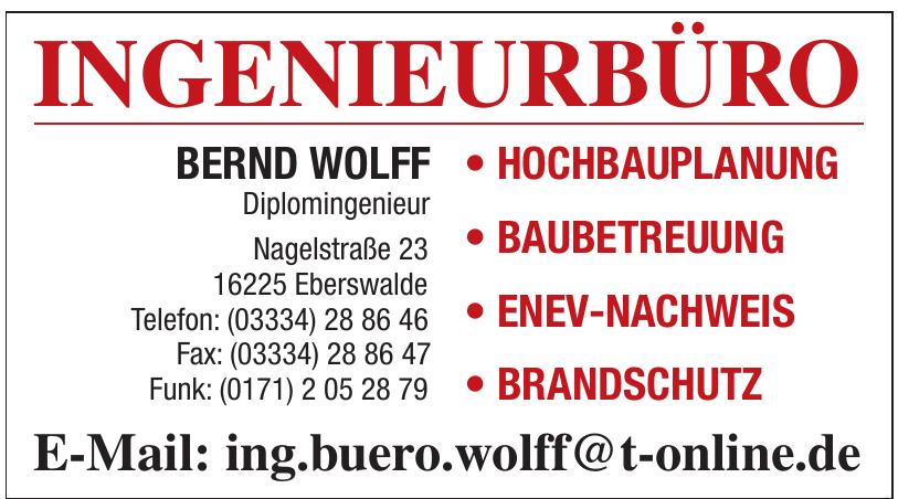 Ingenieurbüro Bernd Wolf Diplomingenieur