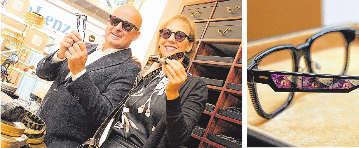 Bei Rheingans zeigenWolfgang Reckzeh und Kathrin Curth von Colibri (li.) die Cinematiq Eyewear Kollektion. In diesen Designerbrillen sind Momente der Filmgeschichte festgehalten (re.). FOTOS: CP
