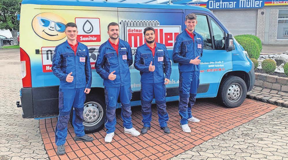 Die aktuellen Auszubildenden des 1. Lehrjahres des Unternehmens Dietmar Müller Heizung-Lüftung-Sanitär GmbH sind überaus engagiert und mit Freude tätig.