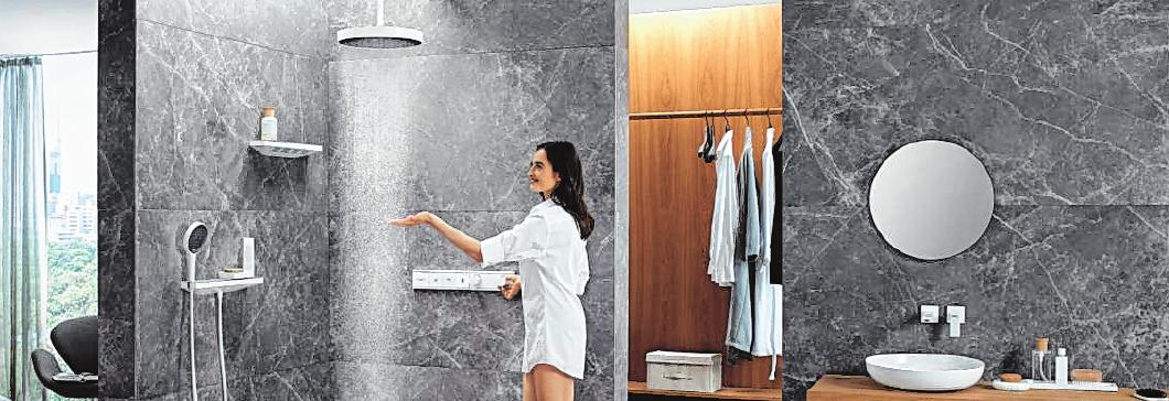 Von oben oder doch lieber erst ab Schulterpartie, damit Haare und Kopf trocken bleiben: Die aktuellen Duschentwürfe denken an alles. BILD: VEREINIGUNG DEUTSCHE SANITÄRWIRTSCHAFT (VDS) / HANSGROHE