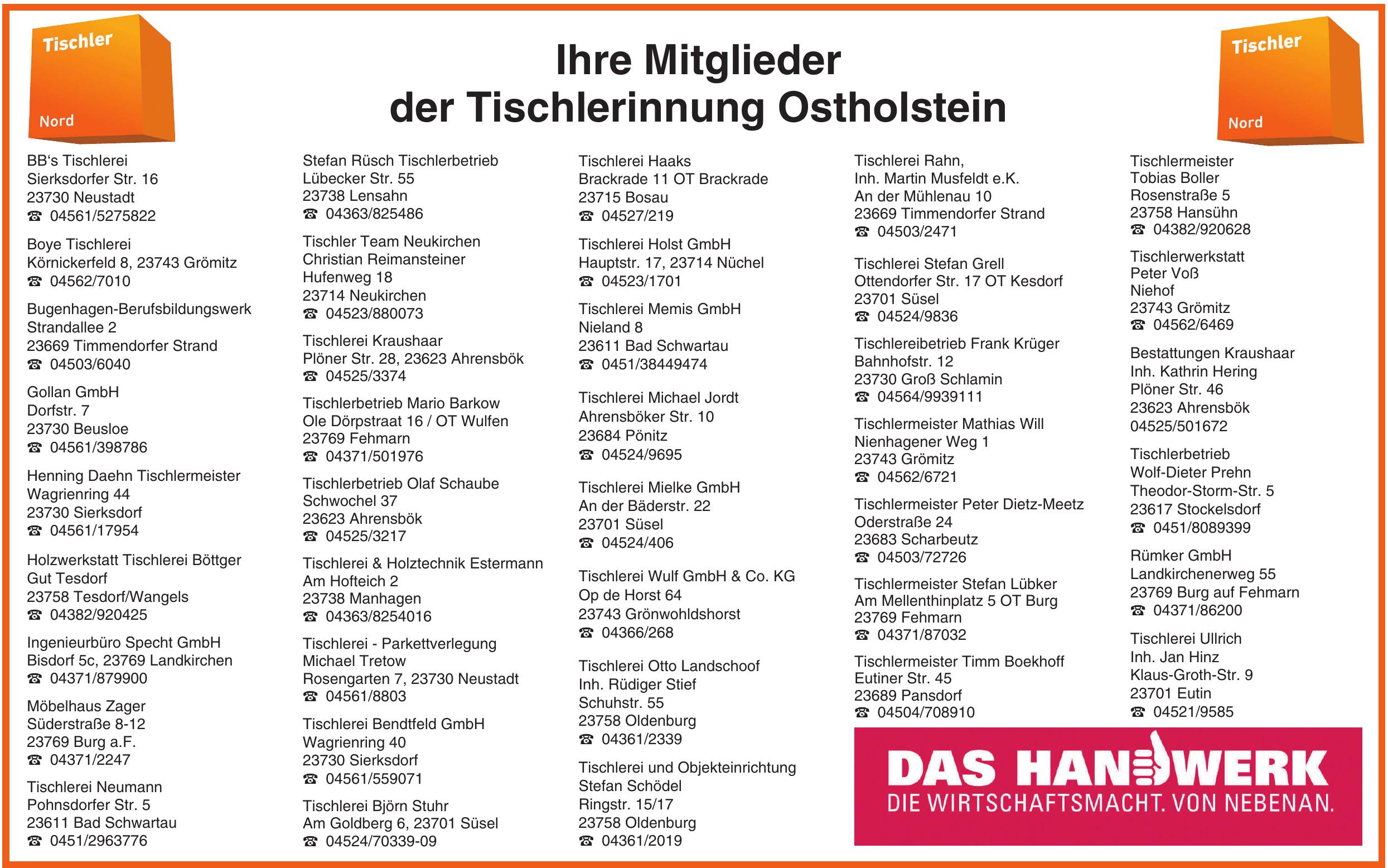 Ihre Mitglieder der Tischlerinnung Ostholstein
