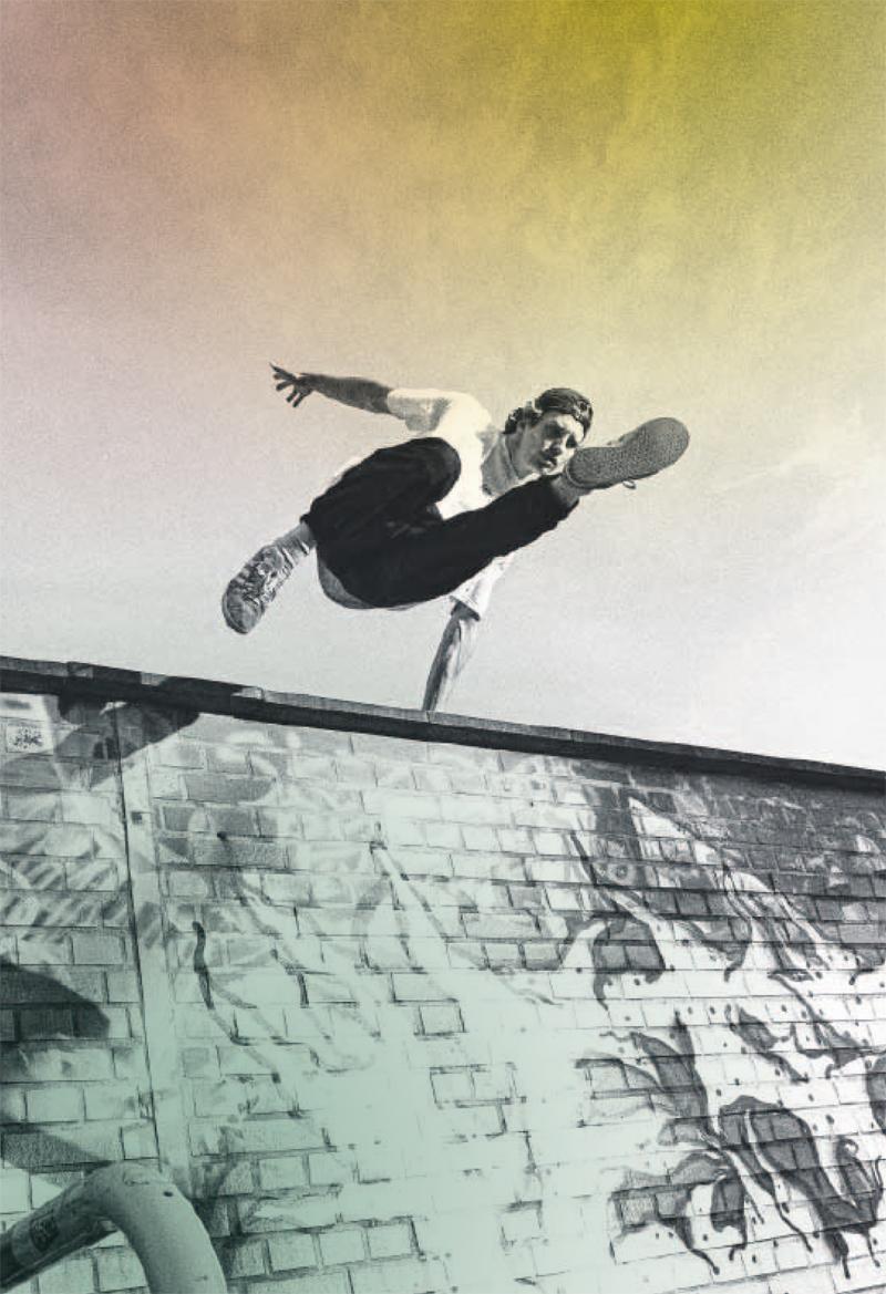 Für Stuntman und Sportmodell Lucas Wilson gibt es keine Hindernisse und Hürden – nur Herausforderungen