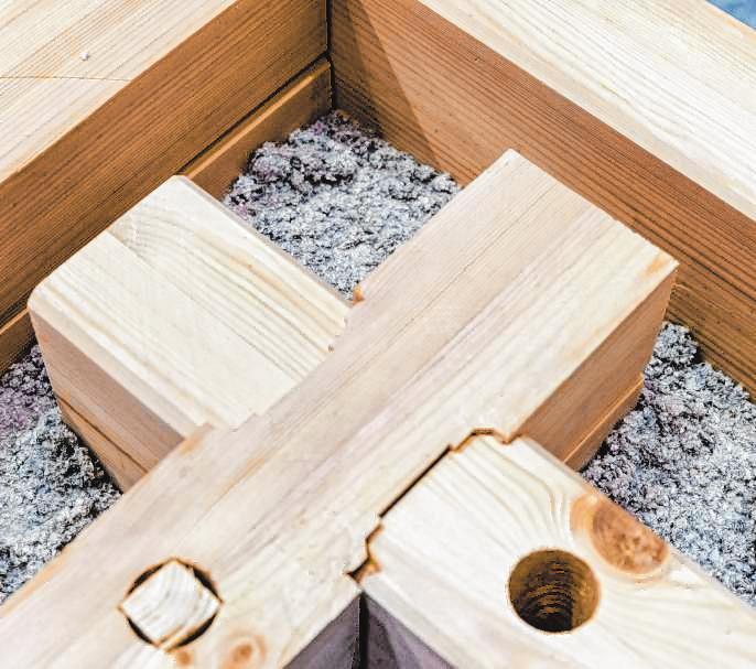 Wandelemente aus Holz, gefüllt mit Zellulose und Holzfasern, können eine Alternative zum Beton sein.