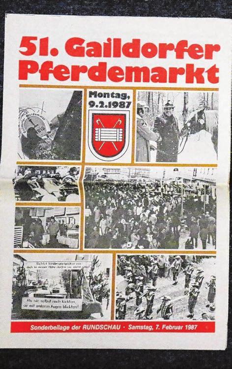 . . . .und der 51. Gaildorfer Pferdemarkt fand auch noch am Montag, 9. Februar 1987, statt. Die Bilder zeigen die Programm-Beilagen dieser Jahre.