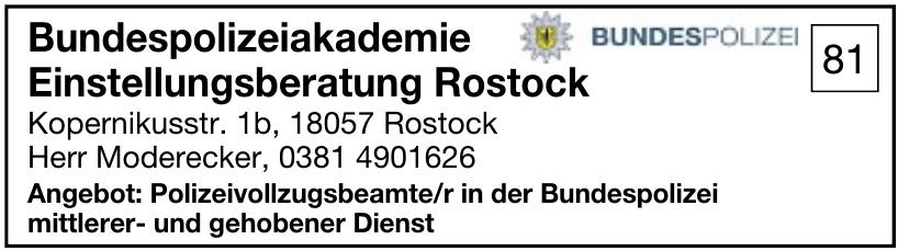 Bundespolizeiakademie Einstellungsberatung Rostock