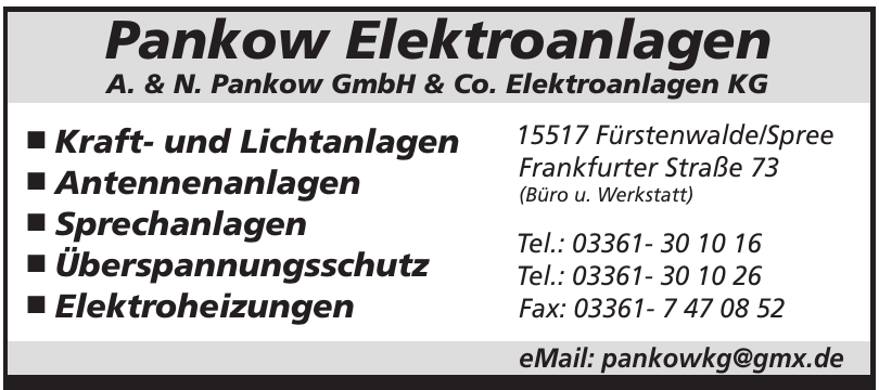 Pankow Elektroanlagen A. & N. Pankow GmbH & Co. Elektroanlagen KG