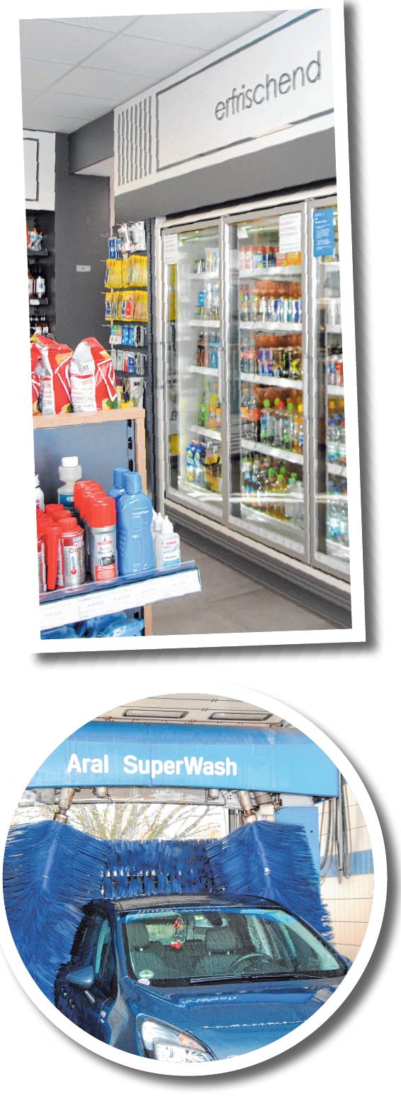 Kühltheke und Shop-Bereich, moderne Waschanlage