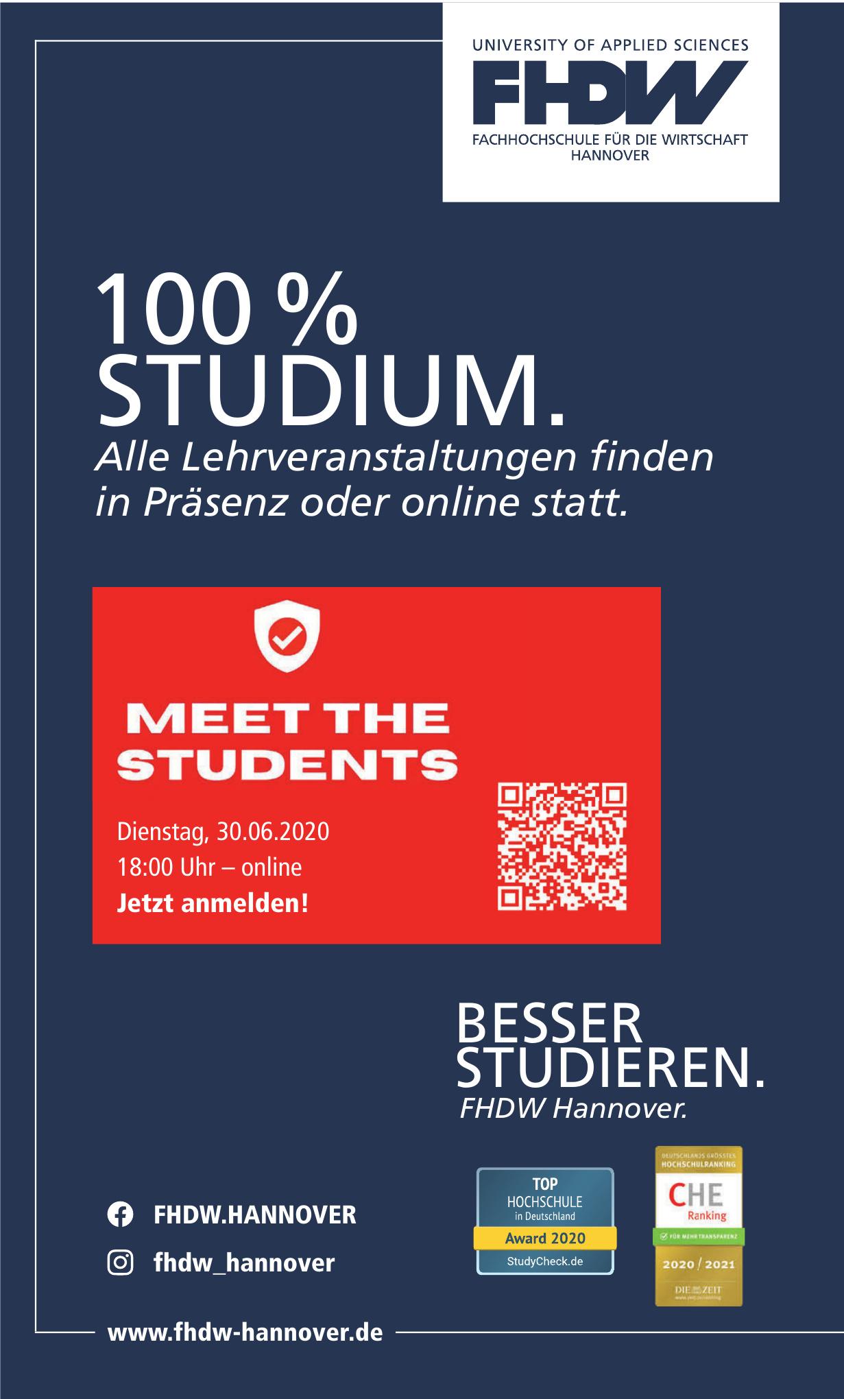 FHDW Fachhochschule für die Wirtschaft Hannover - University of Applied Sciences