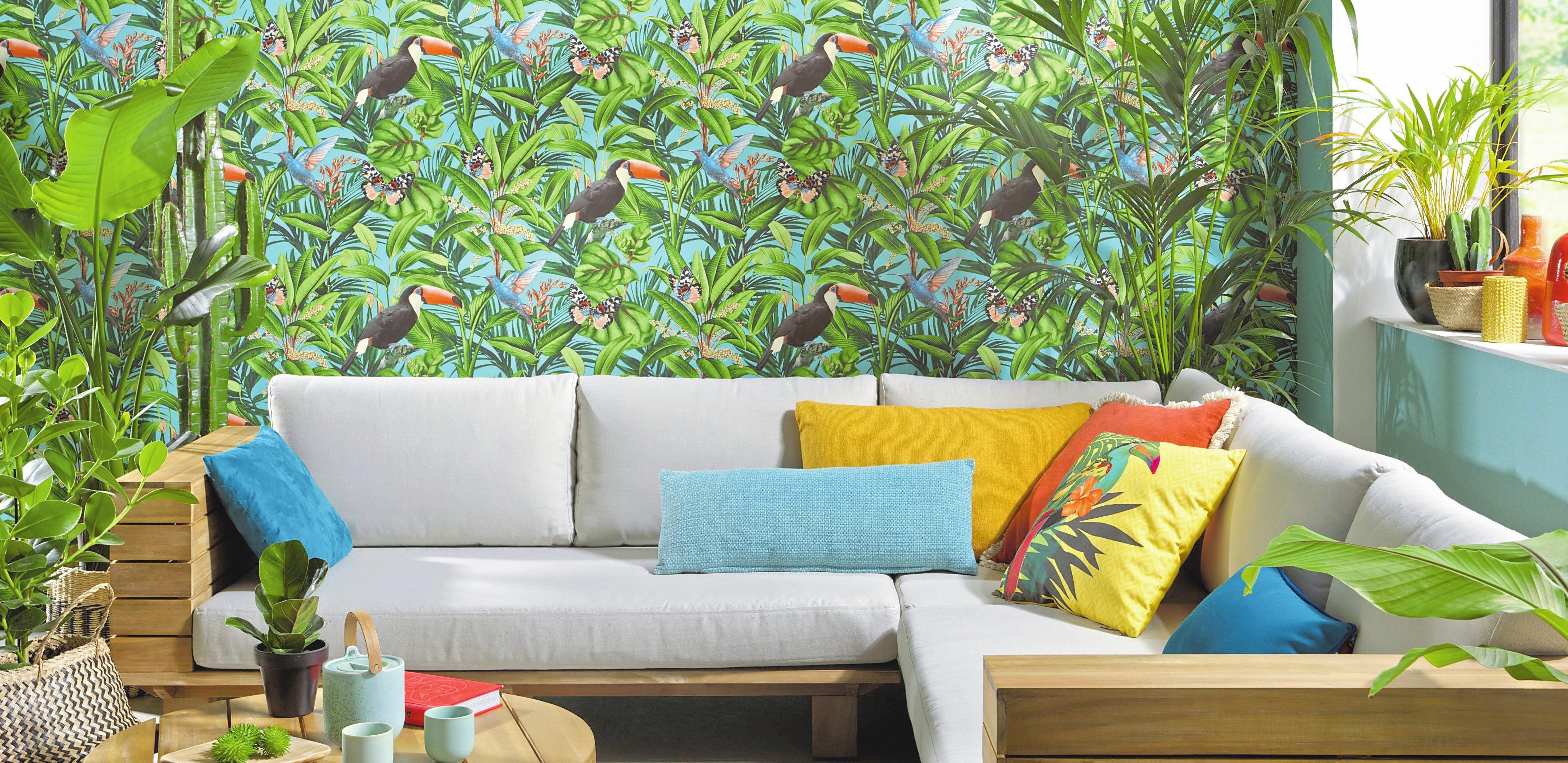 Weiterhin angesagt: Regenwaldmotive für Wände in Mitteleuropa und ein Gefühl von etwas Urlaub und Exotik. Foto: dpa/DTI/Erismann