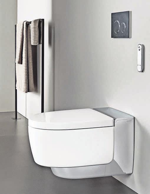 Elegant: Dusch-WC mit Designabdeckung in Chrom, Spülauslösung in Schiefer mit Designelementen in Schwarzchrom. Foto: xerra retina pro