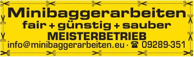 Minibaggerarbeiten fair + günstig + sauber