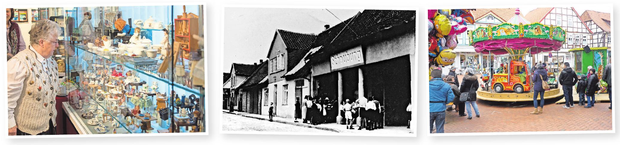 Kleine Bilder von links nach rechts: Die Besucher können sich außergewöhnliche Sammlungen in der Ausstellung im Stadtmuseum und eine Kinoschau in der KulturWerkStadt ansehen. Für Kinder steht auch ein Karussell bereit.
