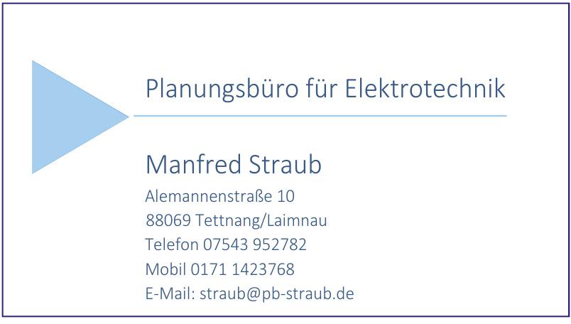Planungsbüro für Elektrotechnik Manfred Straub