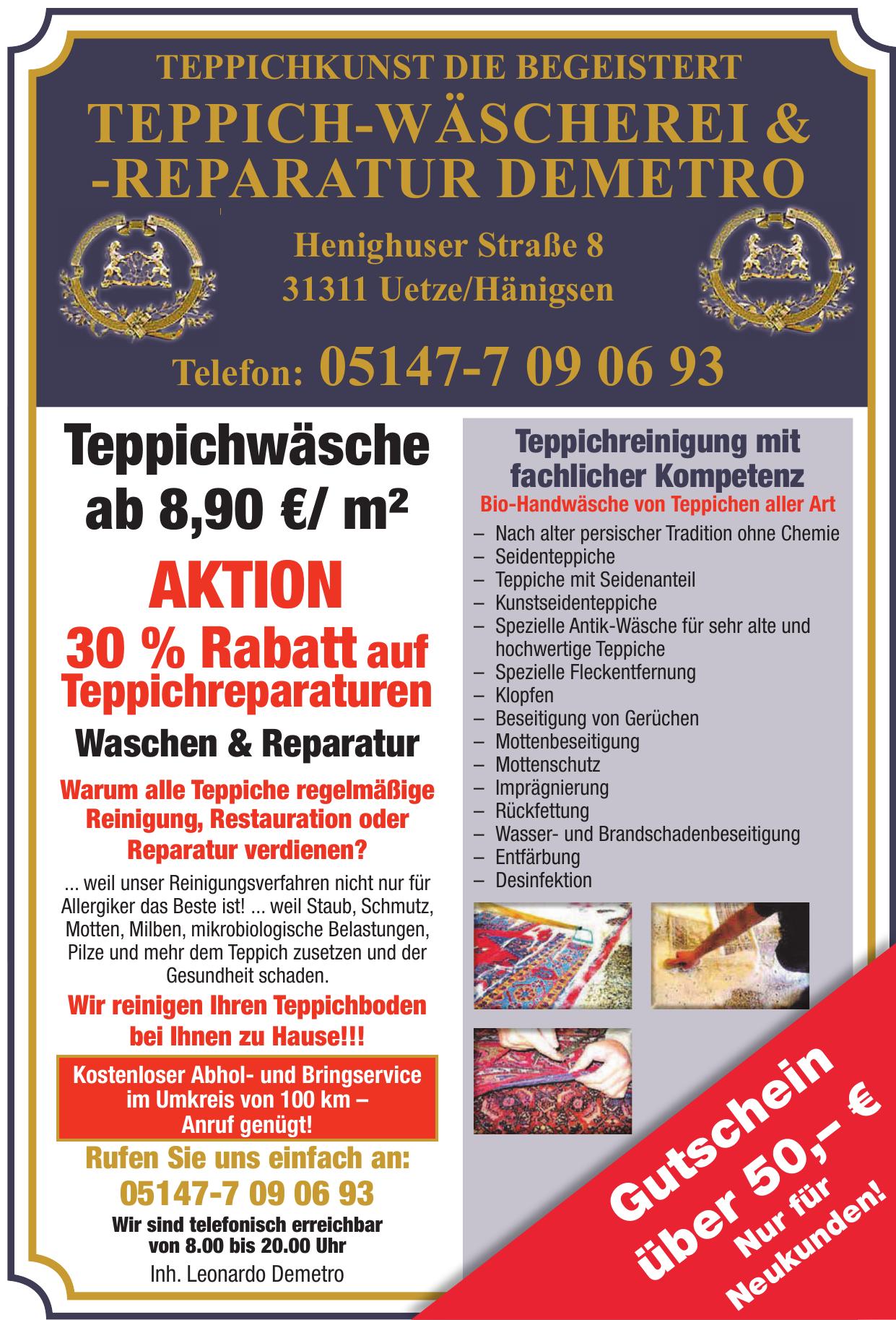 Teppich-Wäscherei & -Reparatur Demetro