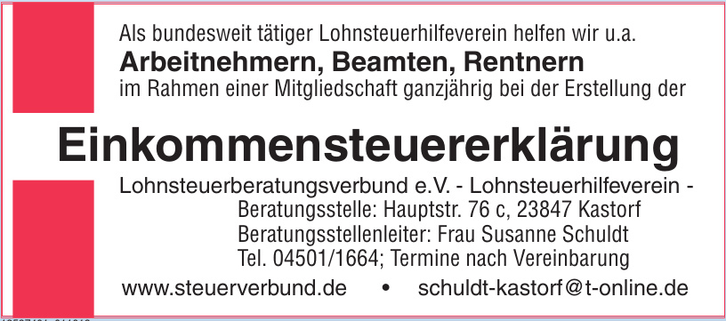 Lohnsteuerberatungsverbund e.V. - Lohnsteuerhilfeverein - Beratungsstelle
