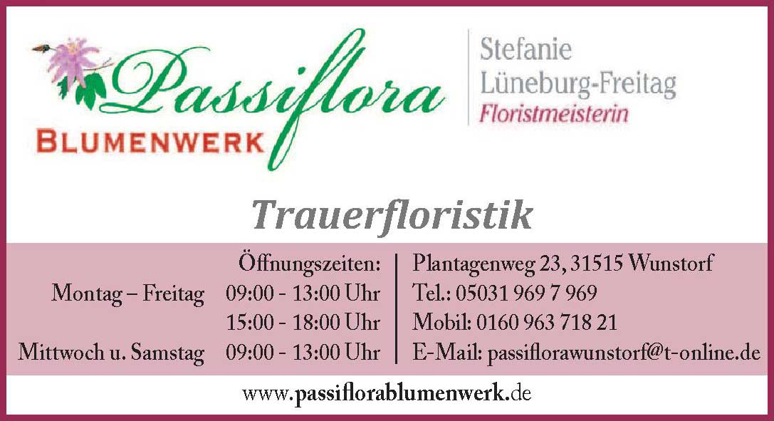 Passiflora Blumenwerk Trauerfloristik