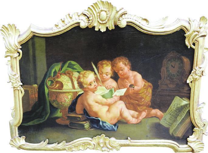 Barocke Darstellung dreier Putti, Deutschland, um 1720