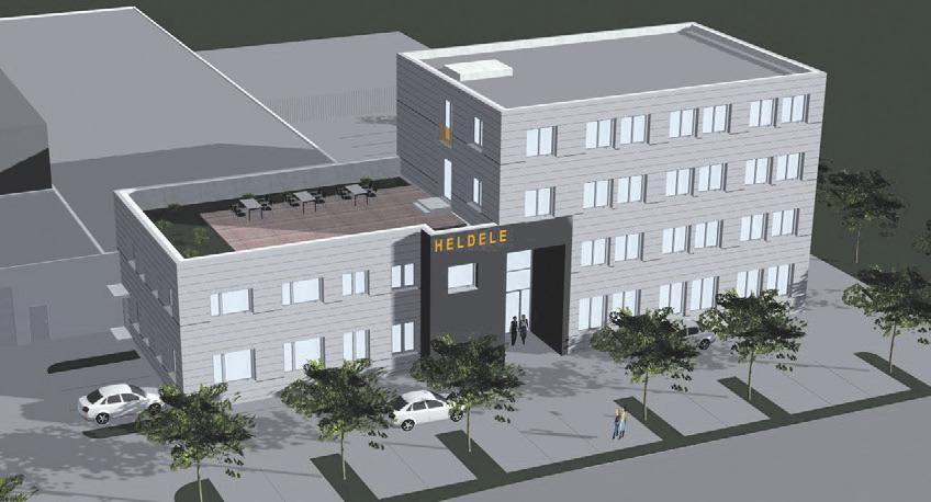 So soll der Standort von Elektro-Heldele in Zukunft aussehen: rechts der Erweiterungsbau, links das modernisierte Bestandsgebäude.