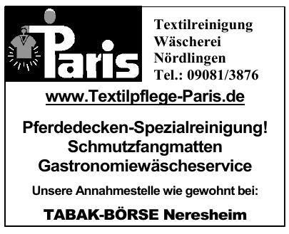 Paris Textilreinigung Wäscherei