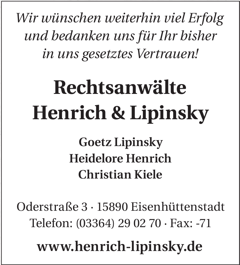 Rechtsanwälte Henrich & Lipinsky