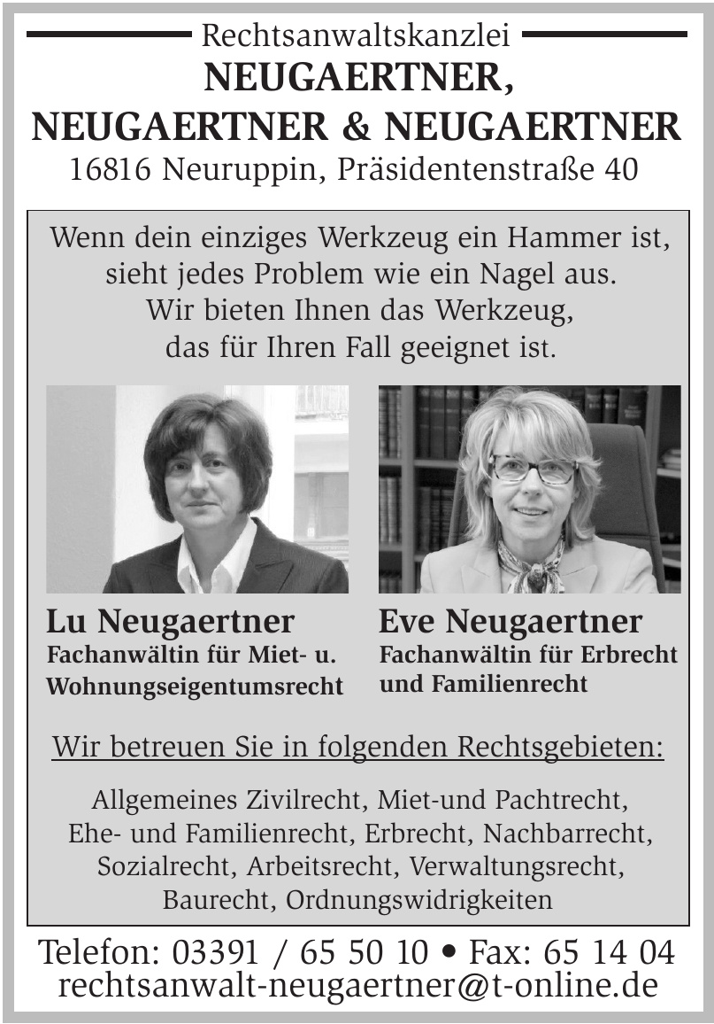 Rechtsanwaltskanzlei Neugaertner, Neugaertner & Neugaertner