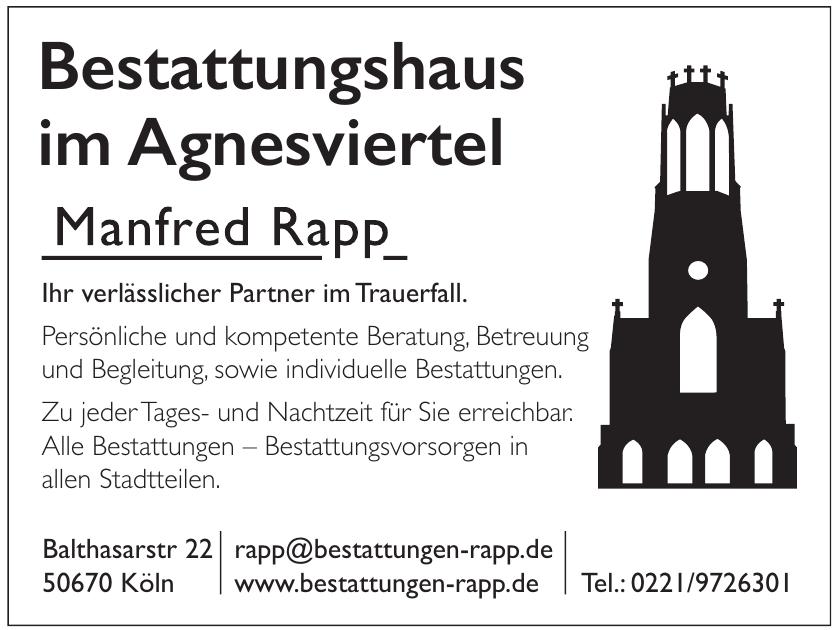 Manfred Rapp Bestatter im Agnesviertel