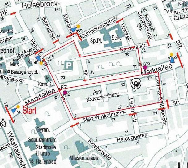 So verläuft der Hiltruper Karnevalsumzug 2020 vom Ausgangs- und Endpunkt Marktallee aus. Foto: KGH Hiltrup