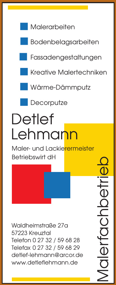Detlef Lehmann Maler- und Lackierermeister Betriebswirt dH