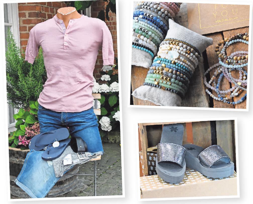 Top-Auswahl (Bilder im Uhrzeigersinn): Das feine Angebot umfasst neben Mode für Damen auch Mode für Herren sowie Accessoires wie zum Beispiel Schmuck von MAS Jewelz und schicke Flip Flops.