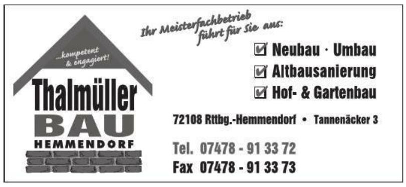 Thalmüller Bau Hemmendorf
