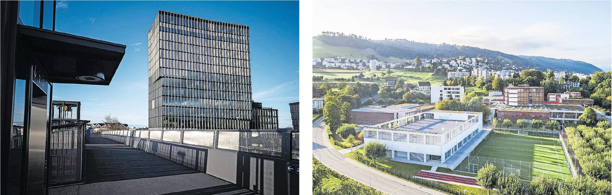 Die HSLU (links) und die Kantonsschule Zug sind laut Silvia Thalmann wichtige Bildungsinstitutionen für den Kanton. Bilder: Stefan Kaiser/PD Regine Giesecke