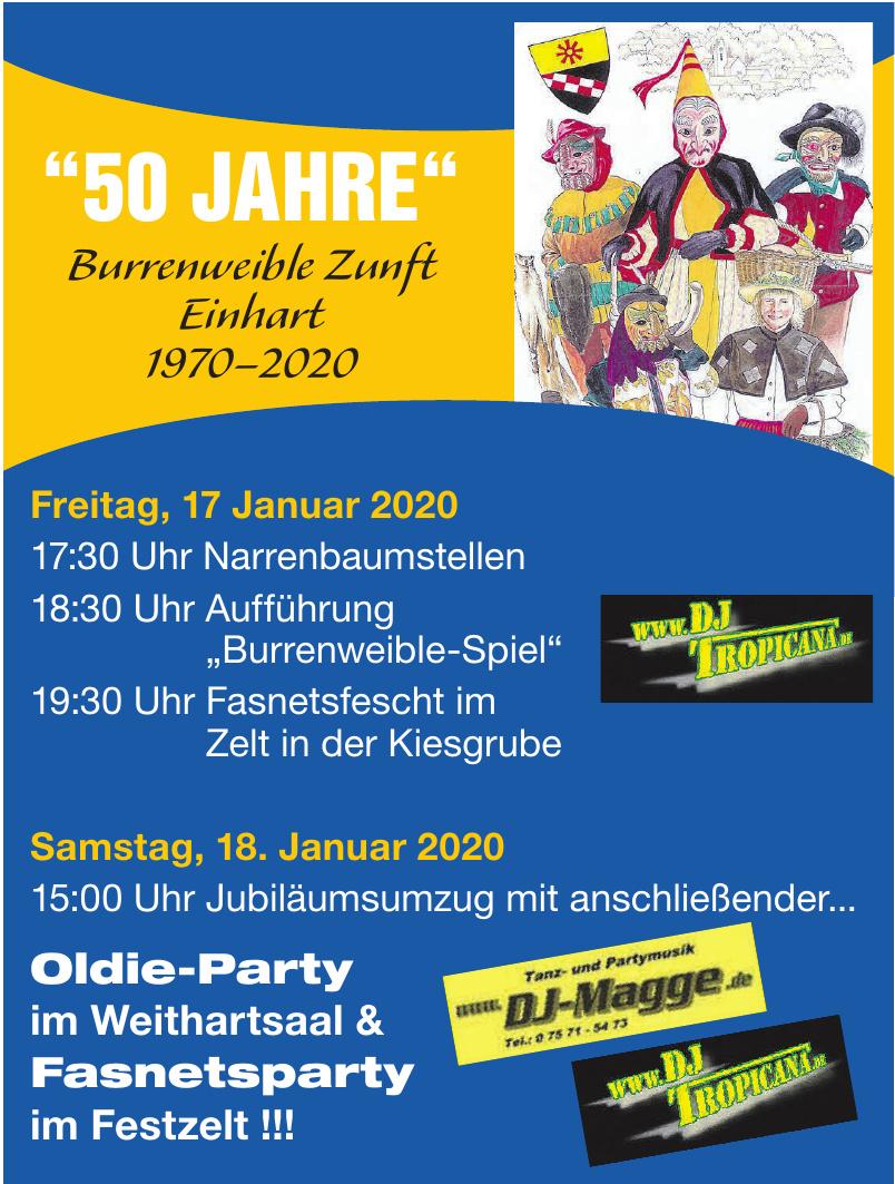 """""""50 JAHRE"""" Burrenweible Zunft Einhart 1970–2020"""