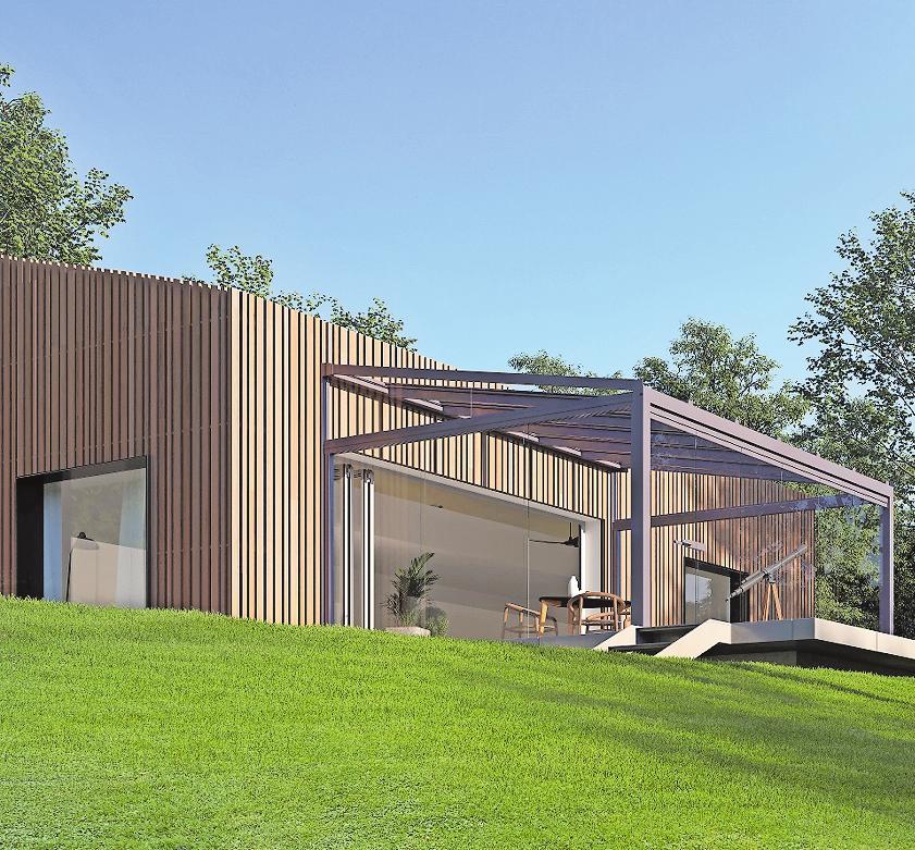 Das schlanke Pultdach bietet einen soliden Witterungsschutz auf der Terrasse. FOTO: DJD/SOLARLUX