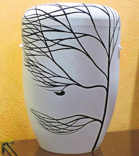Urne mit innovativem Design.