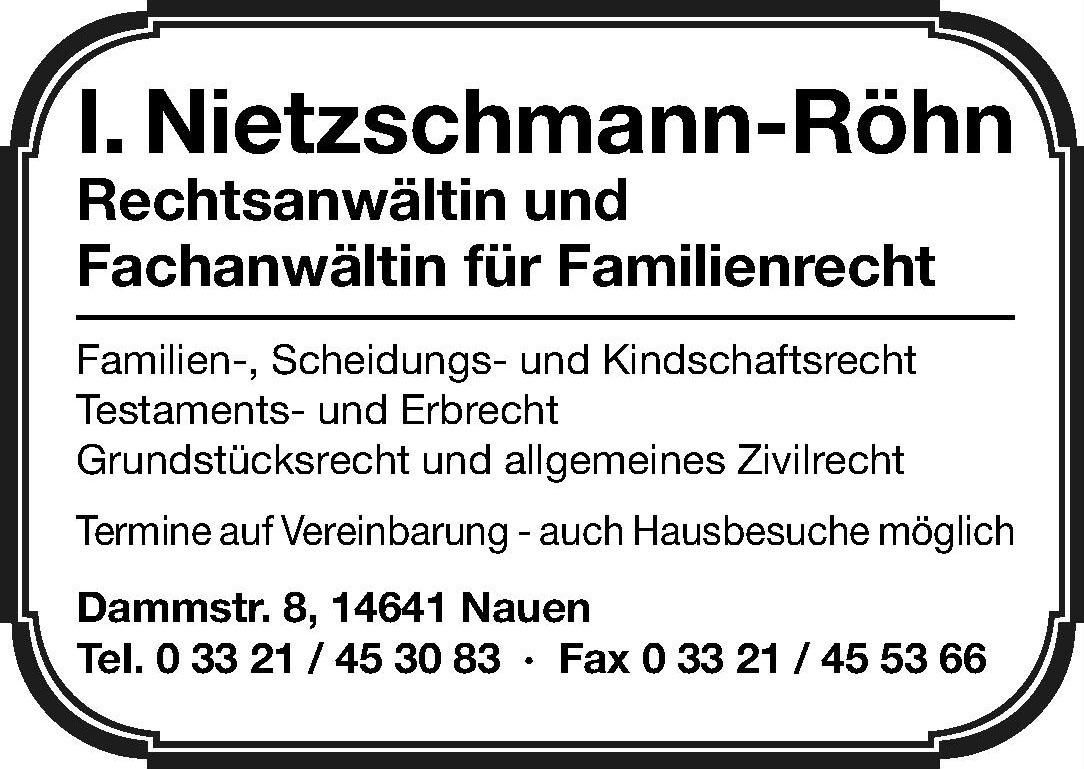 I. Nietzschmann-Röhn Rechtsanwältin und Fachanwältin für Familienrecht
