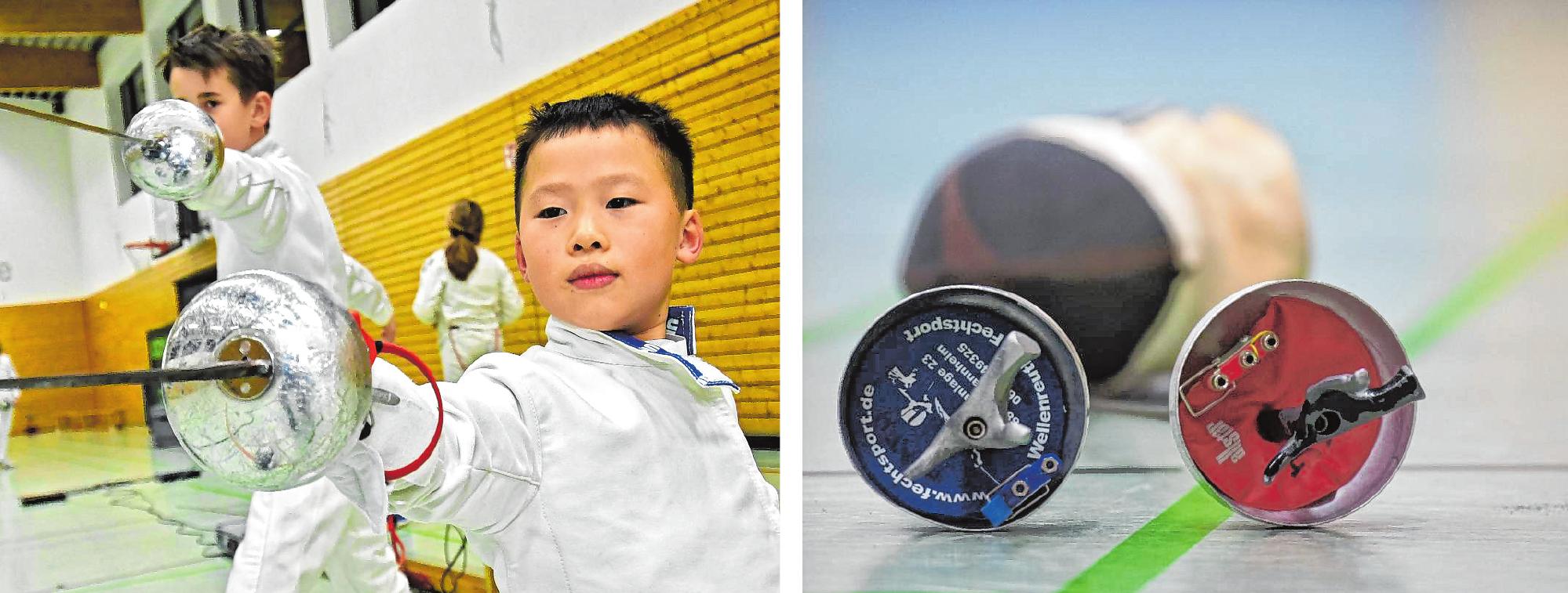 Max (l.) und Haomeng sind begeisterte Fechter bei der SSG Bensheim. Mit sieben Jahren ist Haomeng der derzeit jüngste Aktive in der Abteilung. / Bilder: Dietmar Funck, Thomas Neu