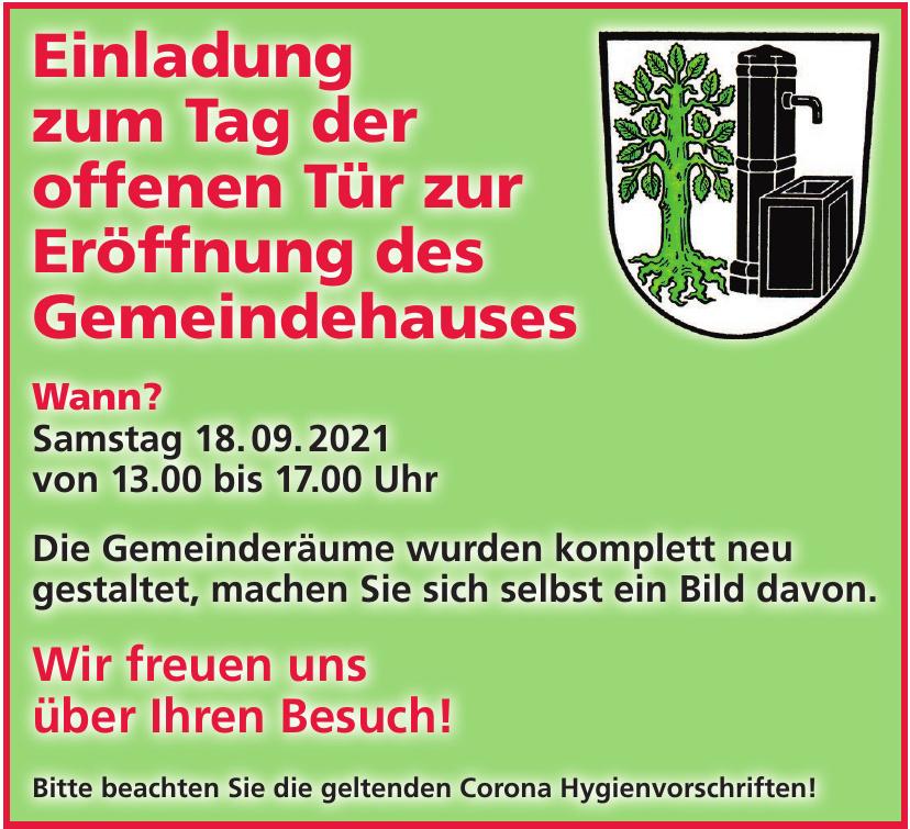 Einladung zum Tag der offenen Tür zur Eröffnung des Gemeindehauses