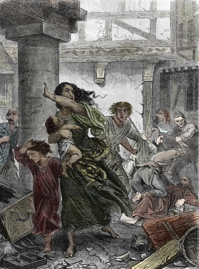 Judenpogrom von 1096 während des ersten Kreuzzuges (Gravour, 1866).
