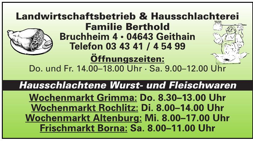Landwirtschaftsbetrieb & Hausschlachterei Familie Berthold