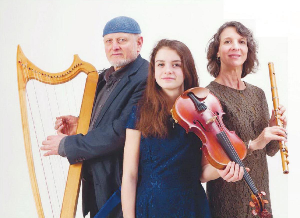 """Thomas Breckheimer mit der keltischen Harfe, die Geigerin Marlen Breckheimer und die Flötistin Elke Martens sorgen unter anderem dafür, dass das Motto """"Jazz meets Irish Folk"""" mit Musik und Leben erfüllt wird. Laut den Organisatoren gehört die Band Triskelta zu den Highlights"""