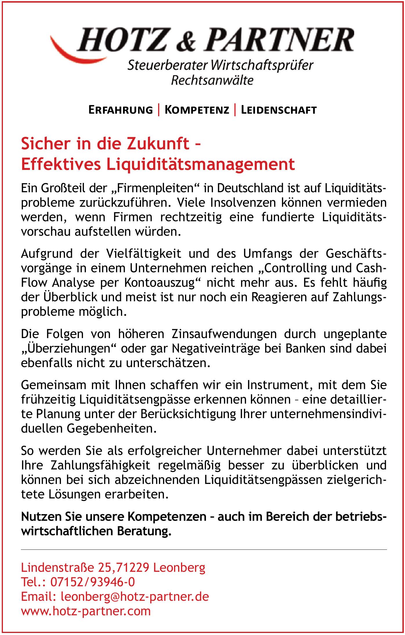 Hotz & Partner Steuerberater Wirtschaftsprüfer Rechtsanwälte