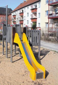 Während des Lockdowns saniert: Spielplatz in der Leipziger Straße.