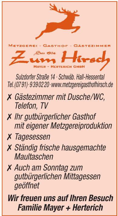 Metzgerei, Gasthof, Gästezimmer Zum Hirsch Mayer Herterich GmbH
