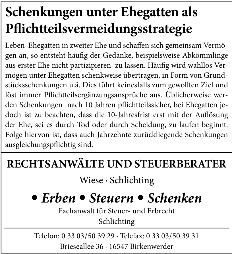 Rechtsanwälte und Steuerberater, Fachanwalt für Erbrecht und Steuerrecht Dirk Wiese & Thorsten Schlichting