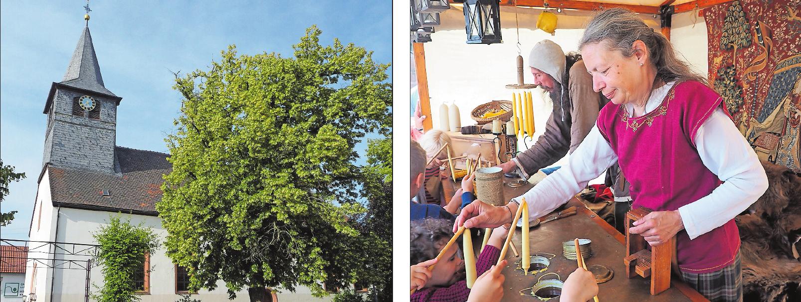 Schauplatz des mittelalterlichen Treibens am ersten Oktoberwochenende in Neuhofen, darunter so genannte Lichterzieher: das Gelände rund um die protestantische Kirche in Neuhofen. FOTOS: NEUHOFEN/LIEB - LORRAINEMÉDIÉVALE/FREI