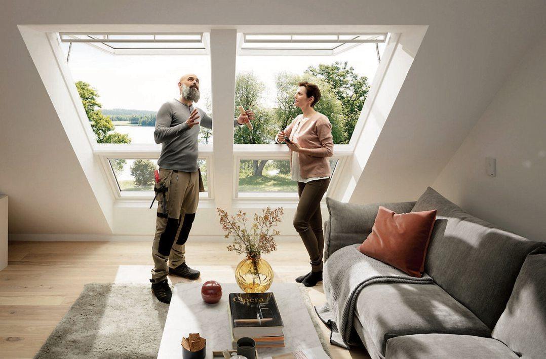 Große Dachfensterverwandeln den Dachraum in einen komfortablen und behaglichen Wohnraum. Bild: Velux